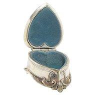 Silver Heart Shaped Trinket Box or  Jewelry Casket  by Weidlich Bros.