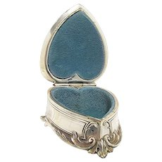 Silver Heart Shaped Trinket Box or  Jewelry Casket  by Weidlich Bros.