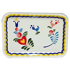 Pennsylvania Dutch Folk Art Tin Serving Tray