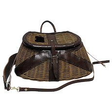 Leather Bound Fishing Creel with Shoulder Harness