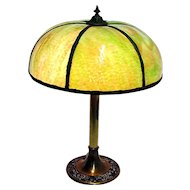 Lamp Antique Green Slag Glass Table Light