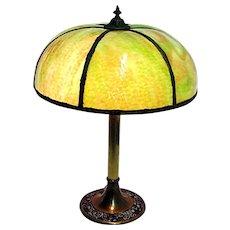 Lamp Antique Green Slag Glass Table Light