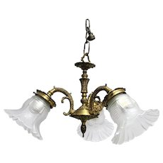 Hanging Lamp Ceiling Lamp Or Pendant Light Fancy Cast Brass  with Three Glass Shades