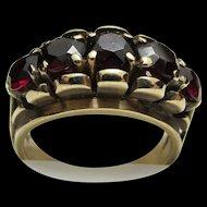 Antique Ring Five Matching Garnets 12 Carat Gold Size 3 3/4
