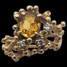 Topaz and Diamond Custom Design Gold Ring