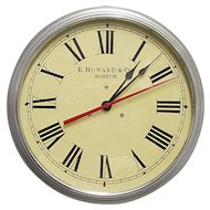 "E. Howard Boston 14 1/2"" Diameter Industrial Wall Clock Runs And Keeps Time"
