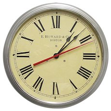 """SOLD   See other Clocks for SALE    . Howard Boston 14 1/2"""" Diameter Industrial Wall Clock Runs And Keeps Time"""