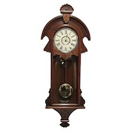 Antique American New Haven Chiming Wall Clock Original Restored Condition