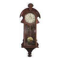 Antique Wall Clock New Haven Cambria 100% Original