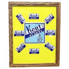 KENT Razor Blades Framed Advertising Pharmacy or Drugstore Display