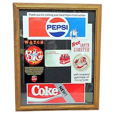 Framed Original Coca Cola  and Pepsi Promotional Advertising NOW 50% Off