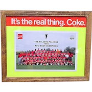 Framed Atlanta Falcon Football Team Coca Cola Promotion Card
