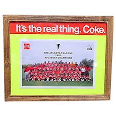 Framed Atlanta Falcon Football Team Coca Cola Promotion Card Now 50% Off