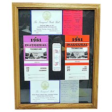 Presidential Memorabilia 1973 and 1981 Inaugural Events Passes and Tickets Framed