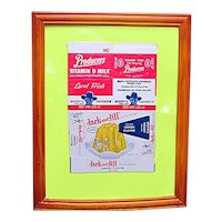 Advertising Boxes Framed Hopalong Cassidy Milk Carton and Jack and Jill Jello Box