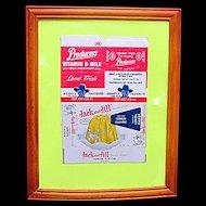 Framed Hopalong Cassidy Milk Carton and Jack and Jill Jello Box