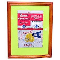 Advertising Framed Hopalong Cassidy Milk Carton and Jack and Jill Jello Box NOW 50% Off