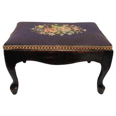 SOLD   Only Two Left  Antique Cabriole Leg Footstool with Needlepoint Cover