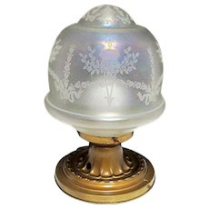 SOLD   See others for sale  Antique Ceiling Light Fixture Or Pendent Light Original Iridescent Globe and Canopie - Red Tag Sale Item