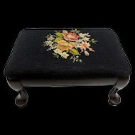 Foot Stool Queen Anne Legs Footstool has Needlepoint Covering