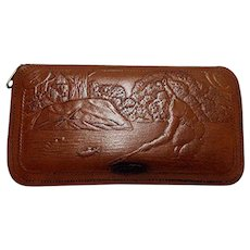 SOLD    See others for sale Unused Leather Fly Fishing Wallet Embossed Fishing Scene