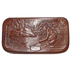 SOLD   See others for sale Leather Fly Fishing Wallet with Embossed Fishing Scene