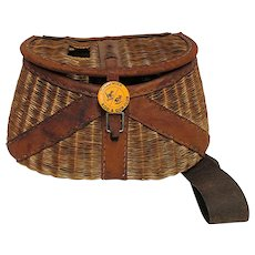 Leather Bound French Weave Fly Fishing Creel