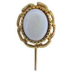 Stick Pin Gold Gilt Cast Head with Faux Opal