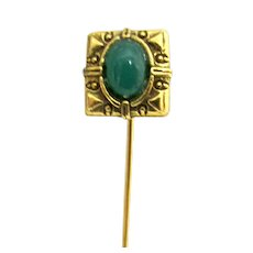 "Stick Pin Gold Gilt with Simulated Jade Inset in Head 2  1/4"" Long"