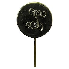 Stickpin Round Disk Head Stick Pin Engraved with S