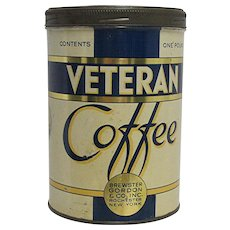 SOLD   We have 18 others   ON SALE   Advertising Coffee Tin Veteran Coffee
