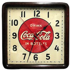 SOLD    Original Coca Cola Advertising Clock In  Wood Case Runs And Keeps Time