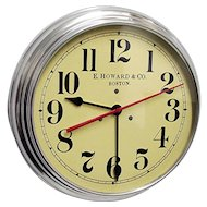 """Round Wall Clock 14 1/2"""" diameter E. Howard of Boston Runs and Keeps Accurate Time"""