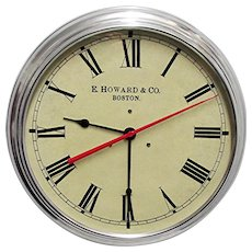 "SOLD   See other Clocks on SALE    Wall Clock  14 1/2"" Round Metal Alloy Edward Howard of Boston Slave Clock"