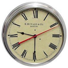 "Wall Clock  14 1/2"" Round Metal Alloy Edward Howard of Boston Slave Clock"