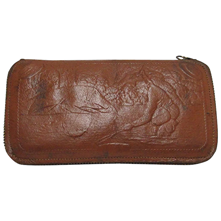 d869a70fc5b Leather Fly Wallet with Fishing Scene : Drury House Antiques | Ruby Lane