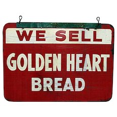 SOLD   Golden Heart Bread Metal Advertising Sign Double Sided