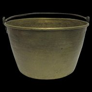 Large Brass Bucket, Pail or Pot Hand Hammered
