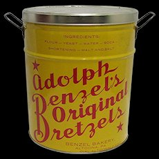 Advertising Pretzel Tin Adolph Benzel's Original Bretzels   Altoona PA.