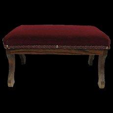 Foot Stool Oak Frame Burgundy Velvet Covered Footstool