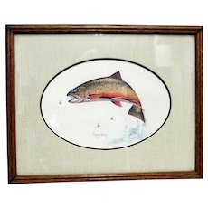 SOLD    See other Fish Prints for Sale   Original Brook Trout Print by Roger Cruwys in Oak Frame
