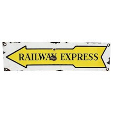 Original Porcelain Advertising Sign For Railway Express
