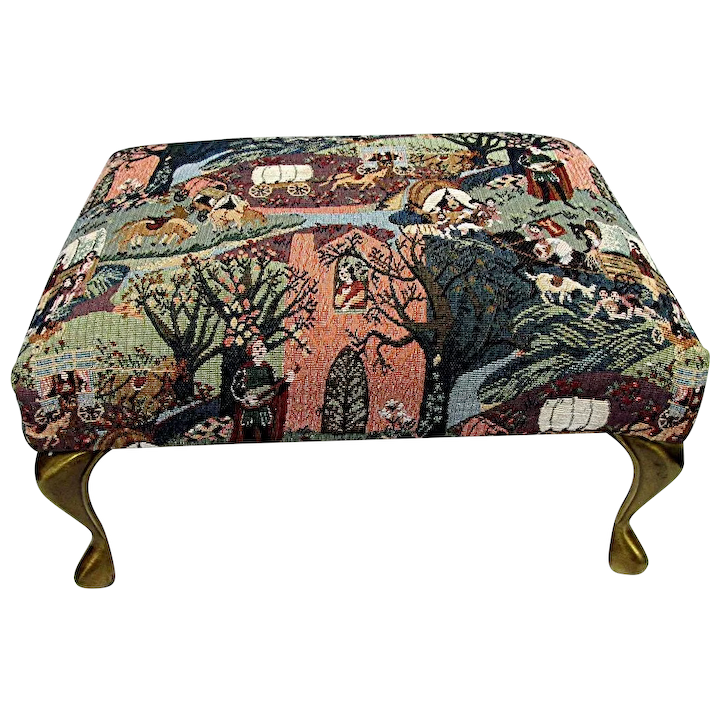 Groovy Sold See Others On Sale Foot Stool Tapestry Covering On Footstool With Brass Cabriole Legs Ocoug Best Dining Table And Chair Ideas Images Ocougorg