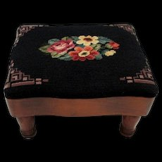 Foot Stool Antique Footstool with Needlepoint Cover