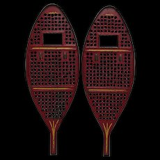 Antique Red Metal Children's Snowshoes