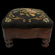 Foot Stool Victorian Footstool with Needlepoint Cover