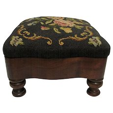 SOLD   See others for SALE   Foot Stool Victorian Footstool with Needlepoint Cover