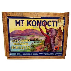 Mt. Konocti Wood Advertising Box or Crate Featuring Native Indian Chief