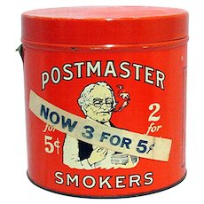 SOLD    Advertising Tin Postmaster Cigar