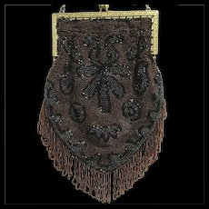 Beaded Purse Art Nouveau Hand Bag Made in Belgium
